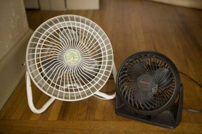 Photo: Small fans, rescued from the curb on garbage night.