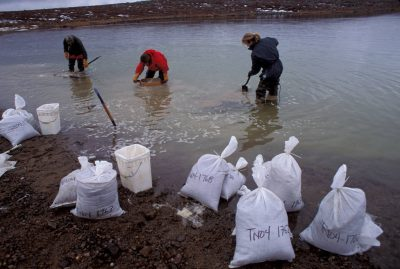 Photo: Prospecting for diamonds in the water-soaked tundra north of Yellowknife, NWT, Canada.