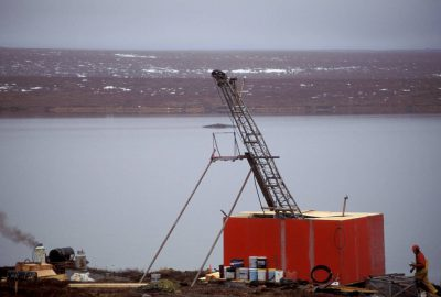 Photo: A Tanqueray Resources, Ltd. drilling shack at a diamond-mining site in the water-soaked tundra north of Yellowknife, NWT, Canada.