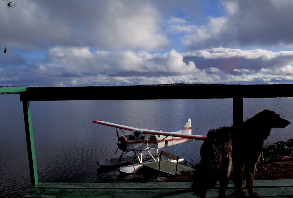 Photo: A float plane docked on a lake near the Tanqueray Resources, Ltd. diamond mining camp north of Yellowknife, NWT, Yukon.