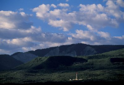 Photo: Coal bed methane drilling rigs dot the landscape near Rifle, Colorado.