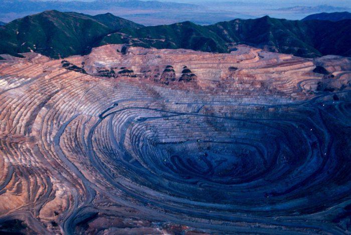 Photo: Aerial of the Bingham Canyon Mine in Utah.