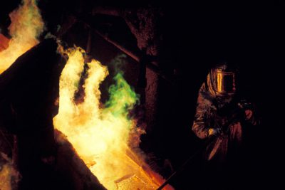 Photo: Copper smelter near San Manuel Arizona. 99% pure molten copper is poured into anode molds.