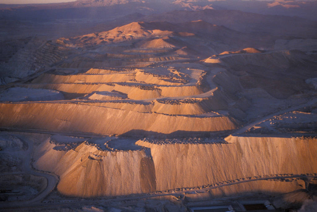 Photo: Aerial of the Chuquicamata mining complex in Chile's Atacama Desert.