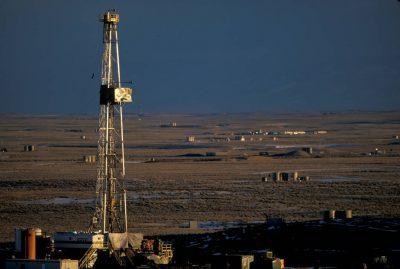 Photo: Natural gas drilling and development near Pinedale, Wyoming.