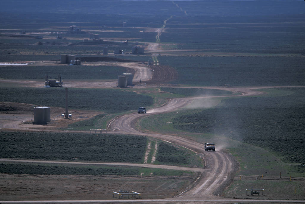 Photo: Wells are tightly spaced in the Jonah Field, a natural gas development near Pinedale, WY.