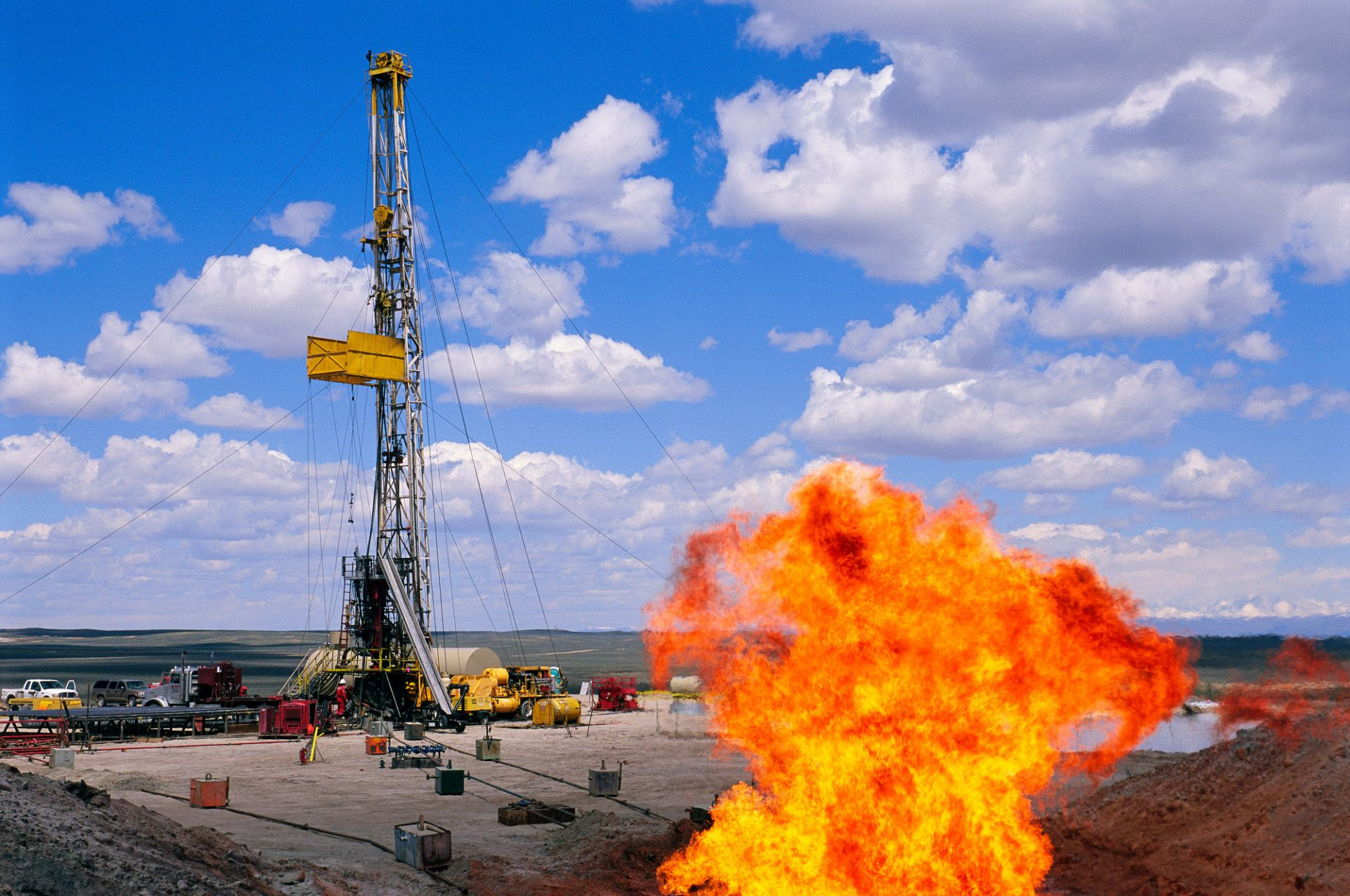 Photo: A flare erupts at a natural gas well near Pinedale, Wyoming.