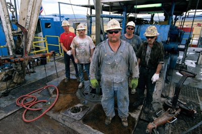 Photo: The crew of a coal bed methane drilling rig in Wyoming.