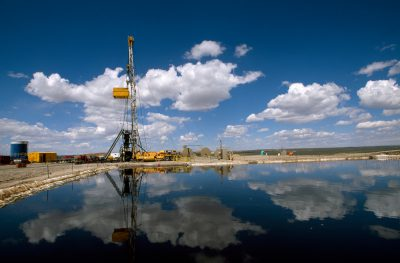 Photo: A natural gas drilling rig near Pinedale, Wyoming.