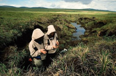Photo: Scientists at the Toolik Research Center study the effects of global warming on the tundra.