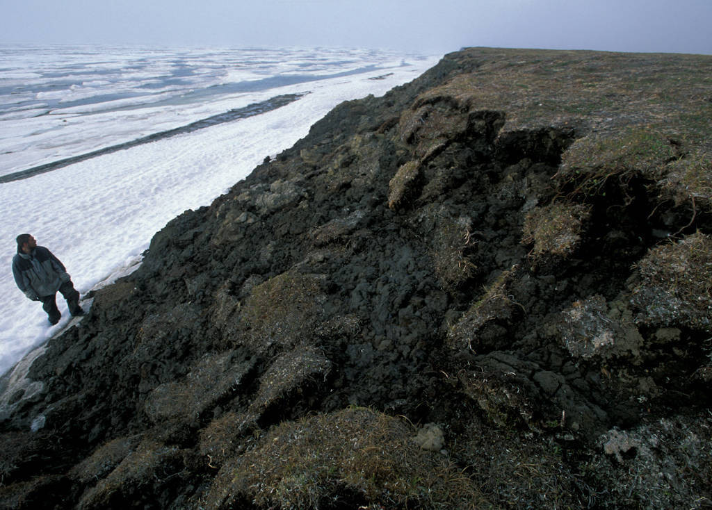 Photo: A cliff in Alaska has slumped into the sea because of erosion from runoff, as a result of climate change.