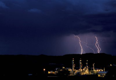 Photo: Lightning over a gas refinery near Bloomfield, NM in the San Juan Basin.