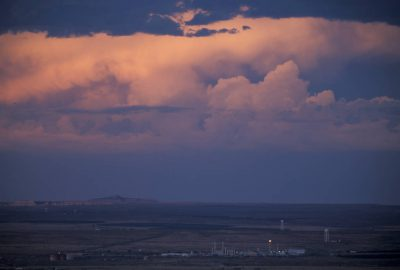 Photo: The sun sets over a gas refinery near Bloomfield, NM in the San Juan Basin.