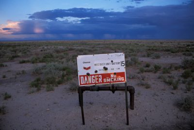 Photo: A sign marking natural gas production area near Farmington, New Mexico.