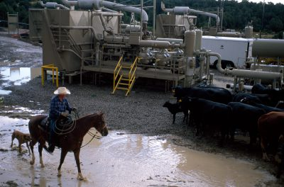 Photo: A rancher and his cattle among polluting gas drilling equipment near Aztec, NM.