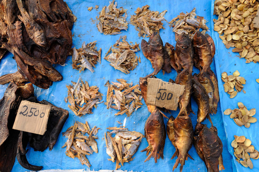 A market in Malabo, Equatorial Guinea offers a variety of dried fish for sale.