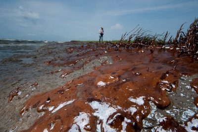 Photo: Crude oil from the Deepwater Horizon spill washed ashore on Queen Bess Island, Louisiana in Barataria Bay.