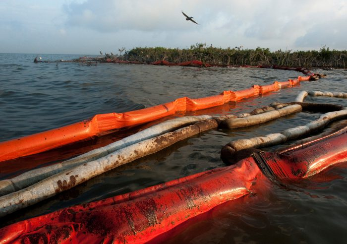 Photo: Oil booms were deployed to defend Cat Island, Louisiana (an important bird rookery) from the Deepwater Horizon oil spill.