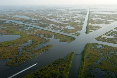 Photo: Hundreds of pipeline canals and shipping lanes have been cut into the coastal marshes of Louisiana.