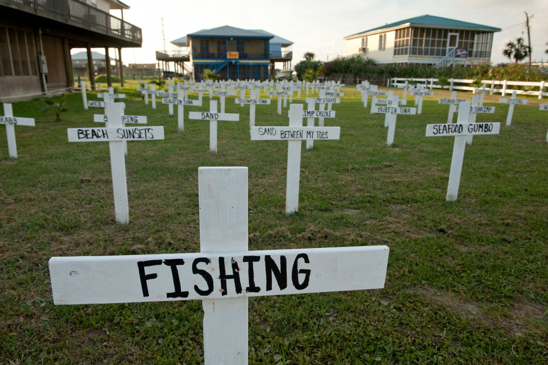 Photo: A protest cemetery dedicated to all the things lost because of the Deepwater Horizon oil spill on Grand Isle, Louisiana.