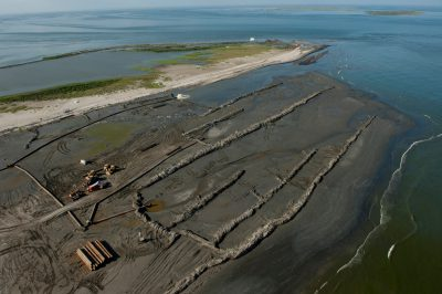 Photo: Berms were built on a barrier island near Grand Isle, Louisiana, in an attempt to protect it from the Deepwater Horizon oil spill.