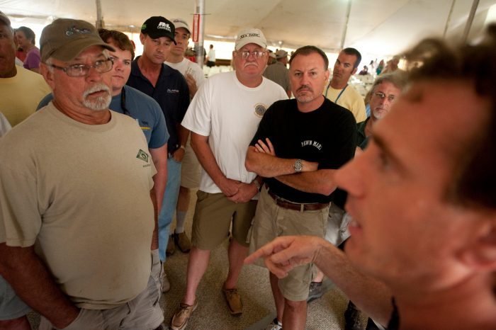 Photo: A group of concerned local residents meet at a community outreach event on Dauphin Island, Alabama.