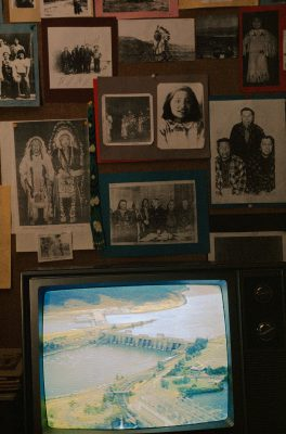 Photo: The living room of a native American family in the Pacific Northwest shows images of past and present realities of this salmon-centered culture.