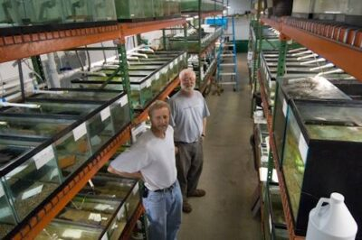 Photo: Portrait of co-directors of Conservation Fisheries, a native stream fish breeding center.