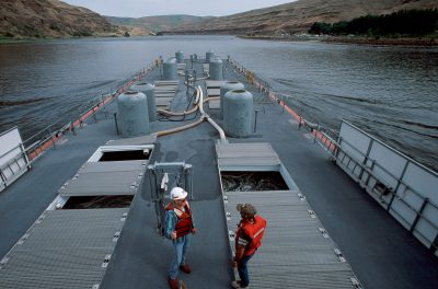 Photo: To move salmon from hatcheries past dams on the Columbia River, the US Army Corps of Engineers has developed an elaborate system of piping and barging the fish out to sea.