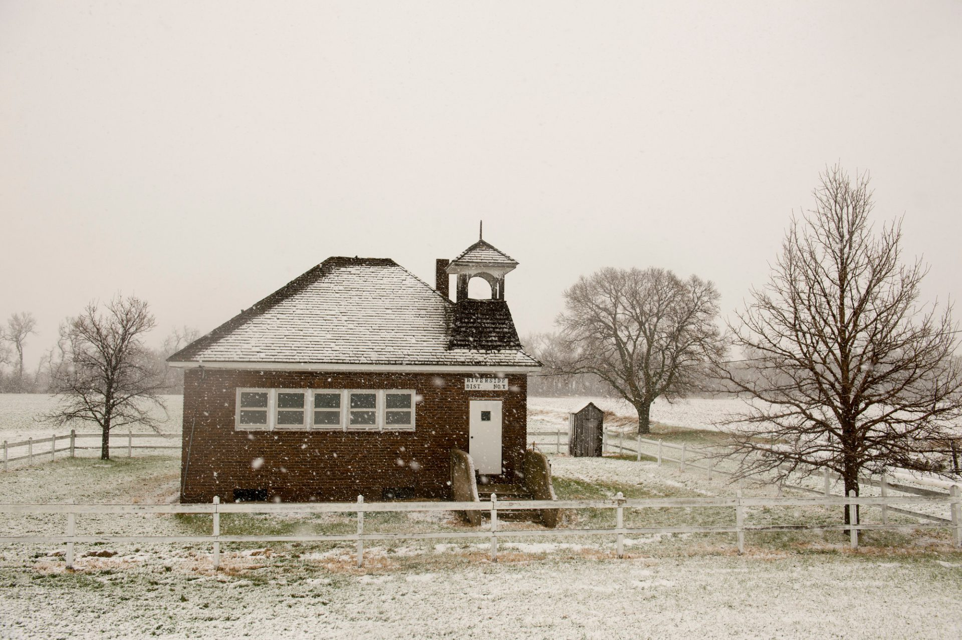 Photo: Snowstorm at a country school near Burwell, Nebraska.