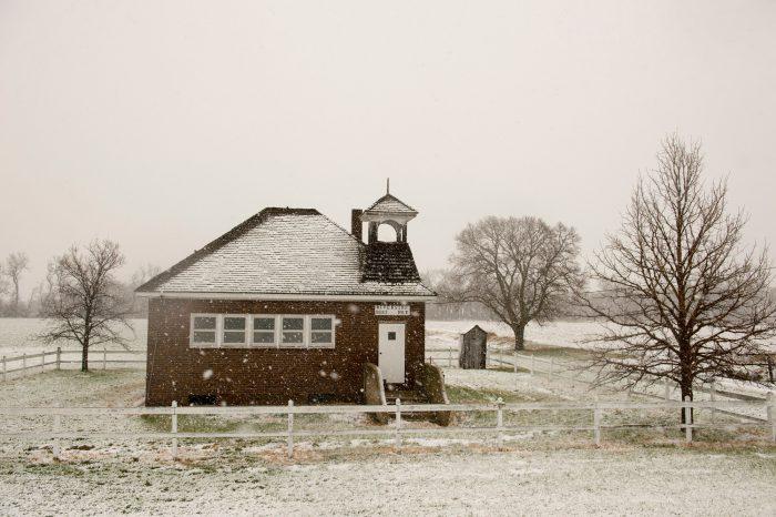Photo: Snowstorm at a country school near Burwell, Nebraska.