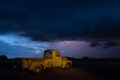 Photo: A 1951 International Harvester pickup truck at a farm near Bennet, Nebraska during a thunderstorm.