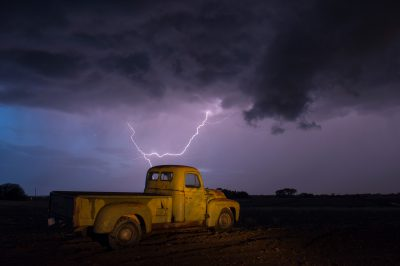 Photo: A 1951 International Harvester pickup truck at a farm near Bennet, Nebraska during a thunderstorm.