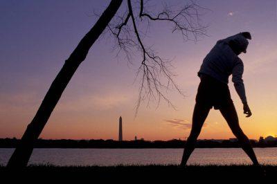 Photo: Passing by the Washington Monument at sunrise.