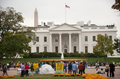 Photo: Protesters in front of the White House, Washington, District of Columbia.