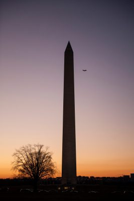 Photo: The Washington Monument at sunset in Washington, DC.