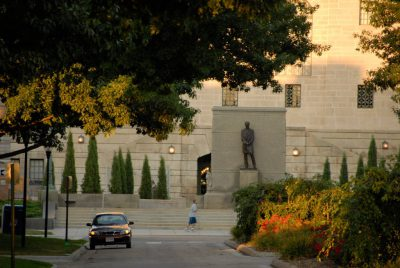Photo: The Abraham Lincoln statue on the west side of the Nebraska State Capitol Building.