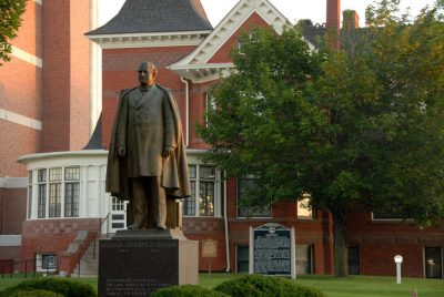 Photo: A statue of William Jennings Bryan stands in front of Fairview, his historic home.