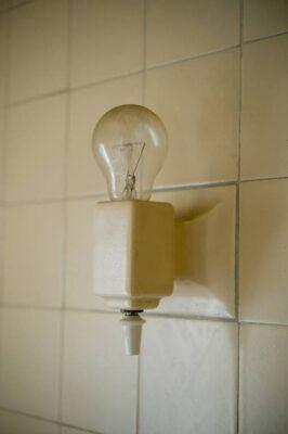 Photo: A bathroom light fixture in a Nebraska home.
