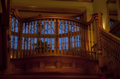Photo: Railings at the top of a staircase in Denver, Colorado.