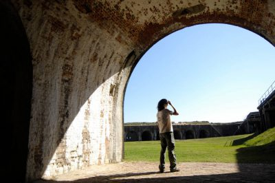 Photo: A woman at the Fort Morgan State Historical Site in Gulf Shores, AL.