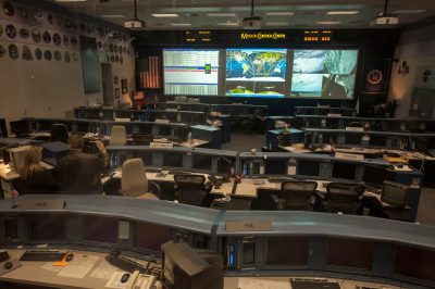 Photo: Mission control at the Johnson Space Center, Houston, TX.
