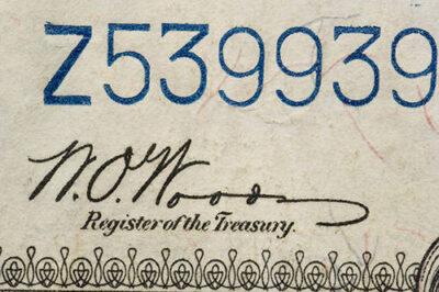 Photo: A 1923 U.S. dollar bill, backed in silver.