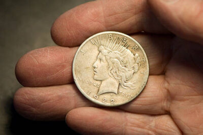 Photo: A close-up of a Silver Peace Dollar from 1922.