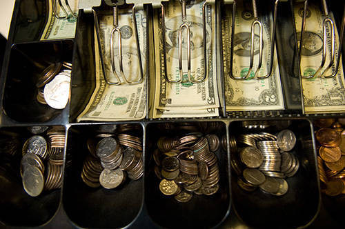 Photo: A close-up of a cash register at The Coinery in Lincoln, NE.