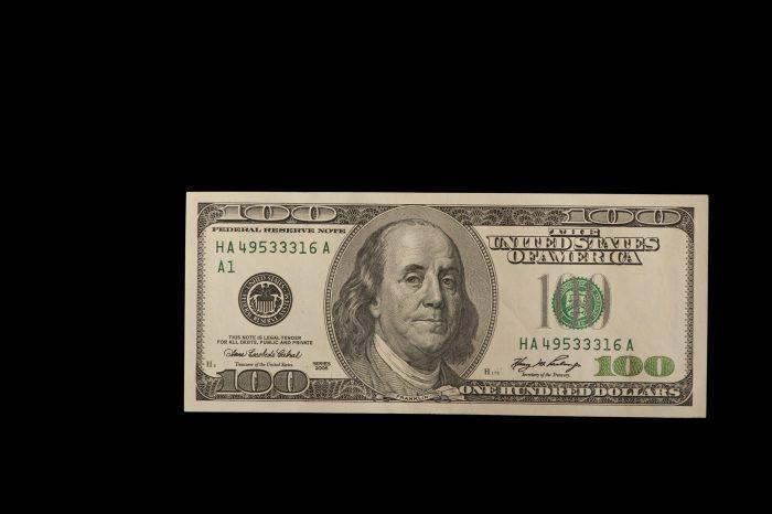 Photo: A studio portrait of a 100 dollar bill, Lincoln, Nebraska.
