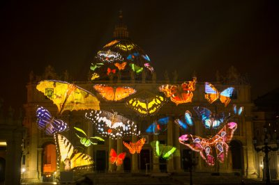 Photo: Butterflies are projected onto the Vatican in an effort to raise awareness for the extinction crisis.