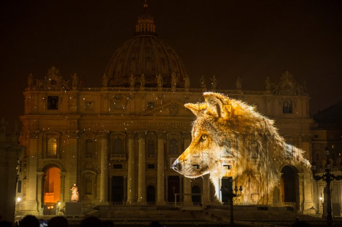 Photo: A Mexican gray wolf is projected onto the Vatican in an effort to raise awareness for the extinction crisis.