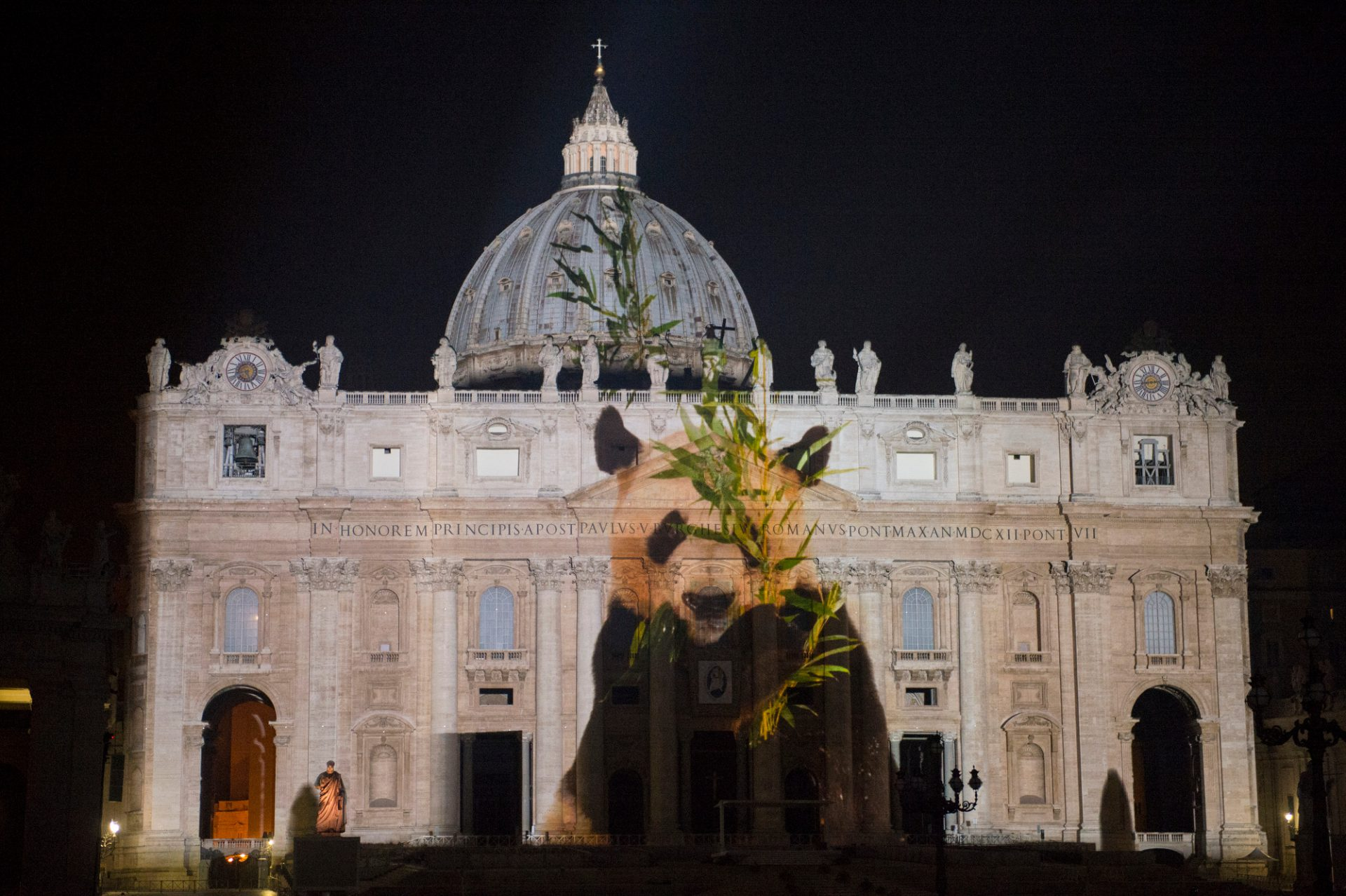Photo: A giant panda is projected onto the Vatican in an effort to raise awareness for the extinction crisis.