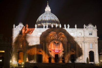 Photo: A baby chimpanzee is projected onto the Vatican in an effort to raise awareness for the extinction crisis.